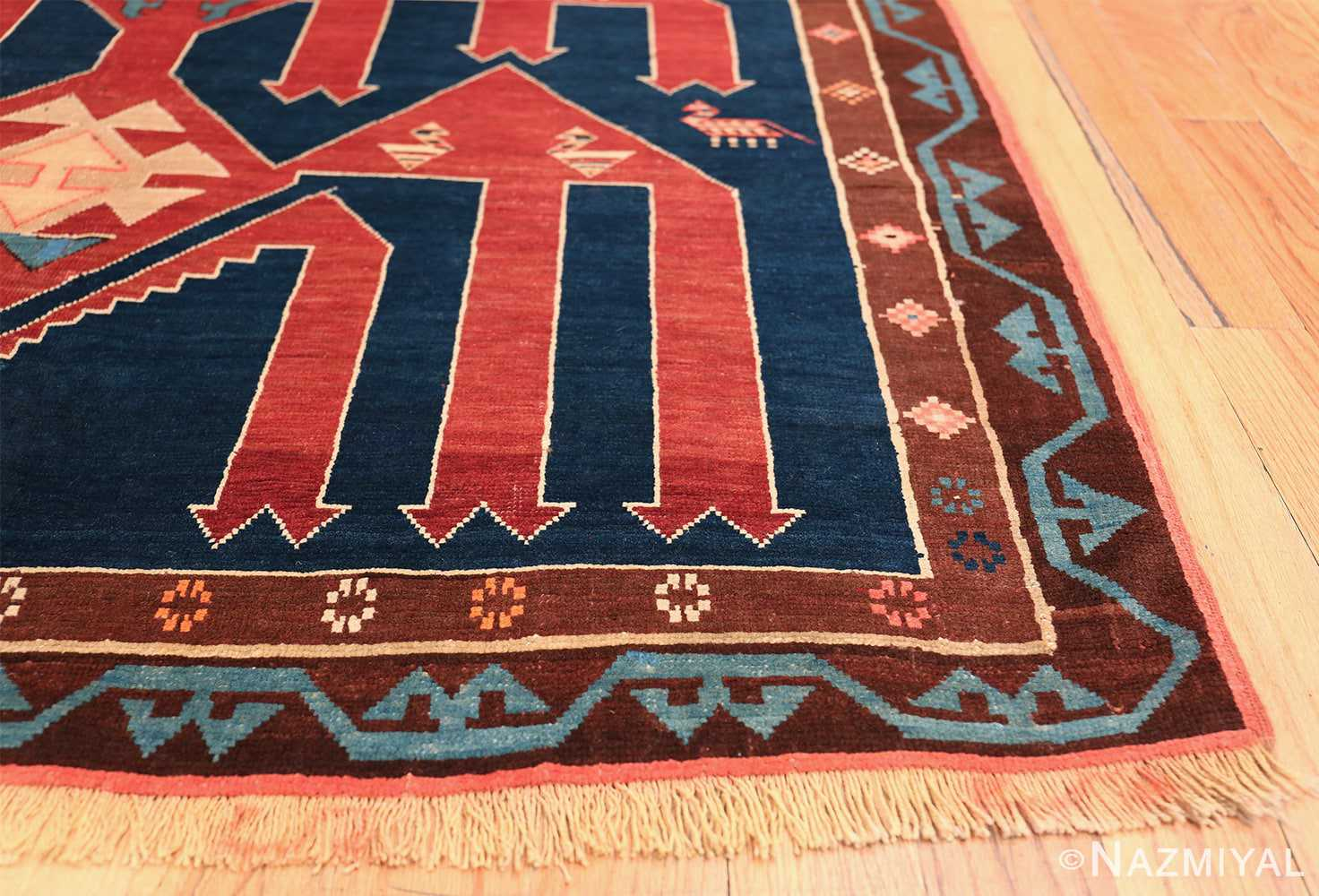 Small Size Tribal Antique Caucasian Avar Rug 49852 Side Corner Nazmiyal