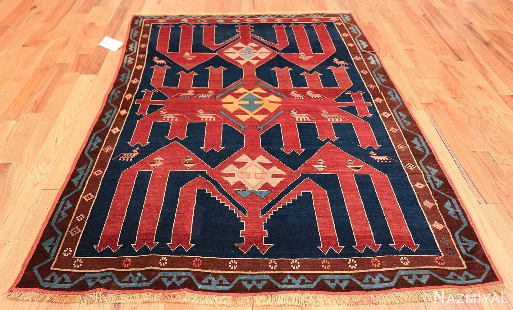 Small Size Tribal Antique Caucasian Avar Rug 49852 Whole Design Nazmiyal
