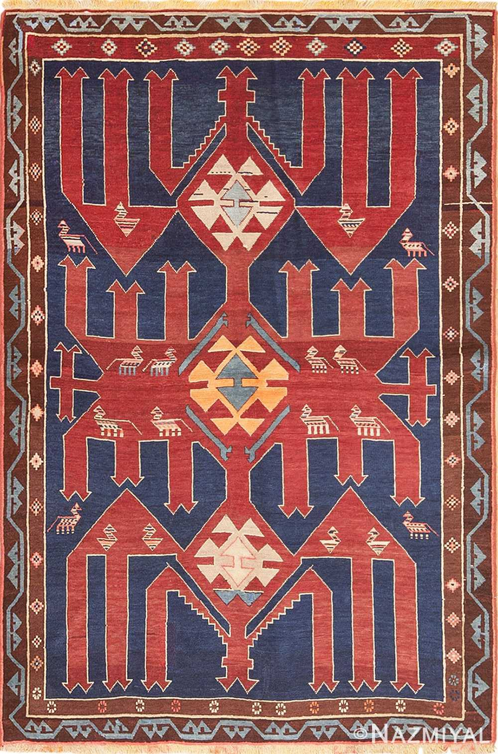 Small Tribal Antique Caucasian Avar Rug 49852 Nazmiyal