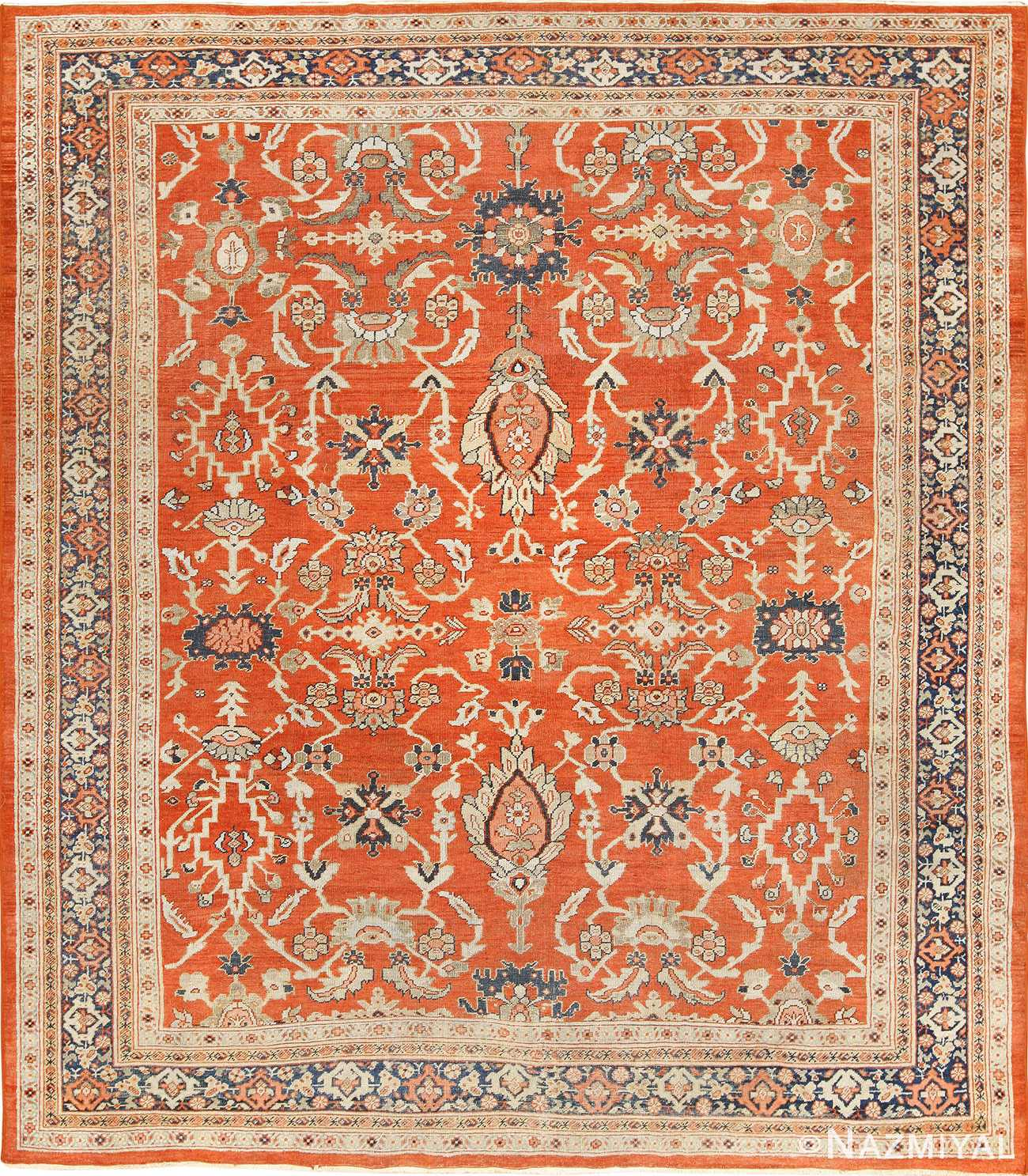 Rusty Red Background Square Antique Persian Sultanabad Rug 49760