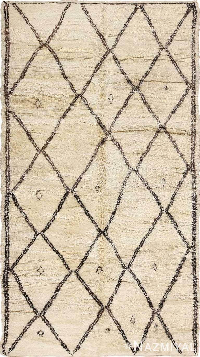 Vintage Diamond Design Shaggy Beni Ourain Moroccan Rug 49872 - Nazmiyal