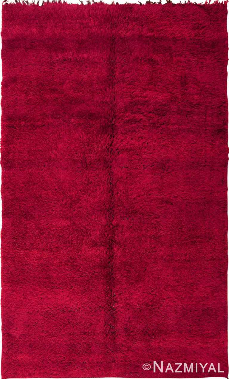 Double Sided Shaggy Red Moroccan Berber Rug #49899 by Nazmiyal Antique Rugs