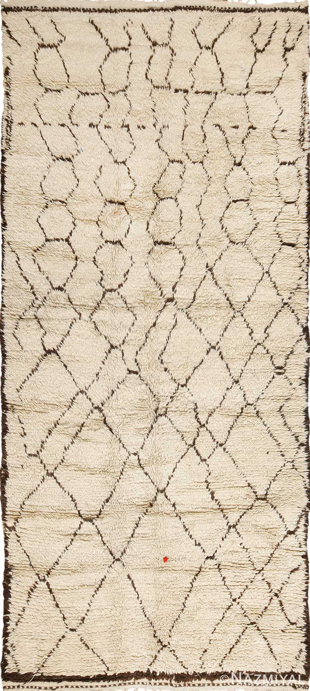 Shag Ivory Vintage Beni Ourain Moroccan Rug 49888 - Nazmiyal