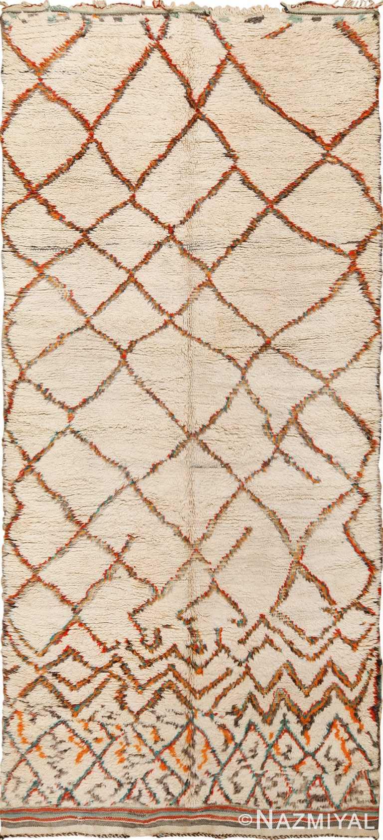 Vintage Ivory Shag Pile Moroccan Berber Rug 49894 Nazmiyal