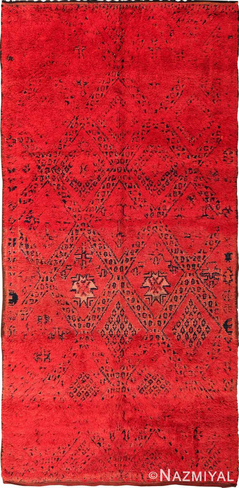 Vintage Gallery Size Double Sided Red Berber Moroccan Rug 49880 - Nazmiyal