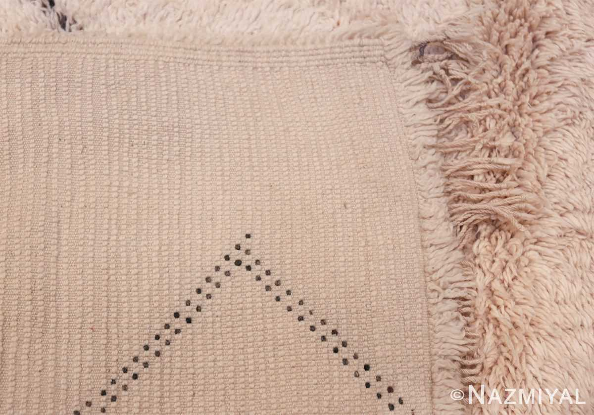 Vintage Room Size Ivory Moroccan Rug 49890 Woven Knots Nazmiyal