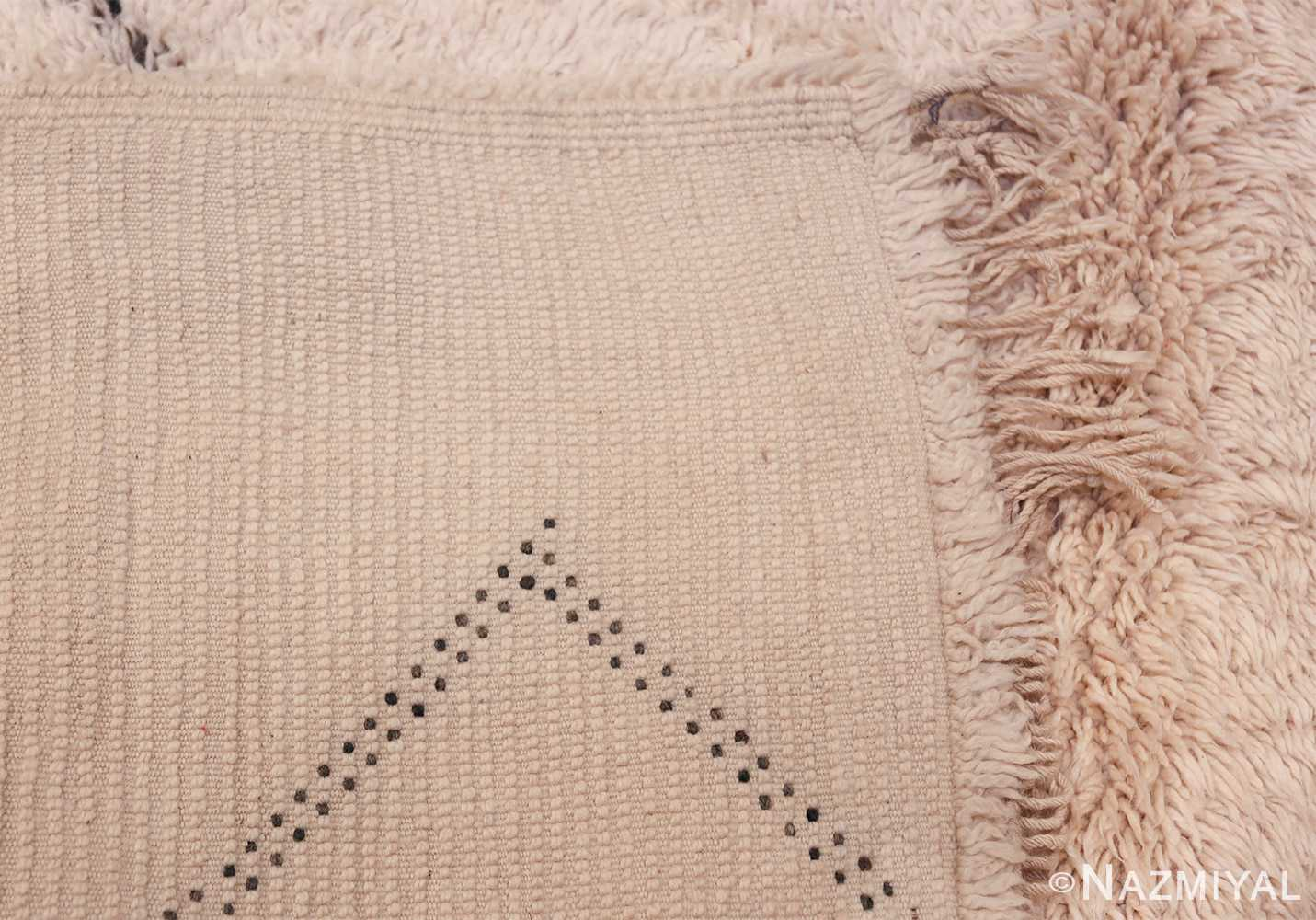 Vintage Room Size Ivory Moroccan Rug 49890 Woven Knots Nazmiyal