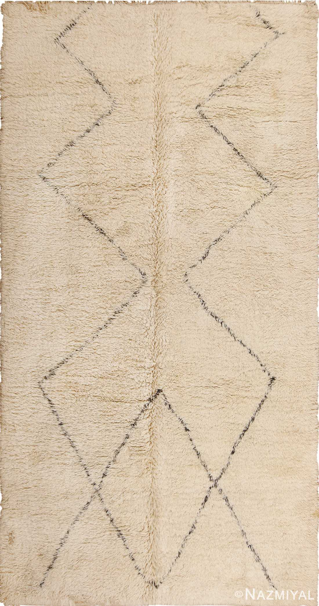 Vintage Ivory and Brown Beni Ourain Moroccan Rug 49890 Nazmiyal