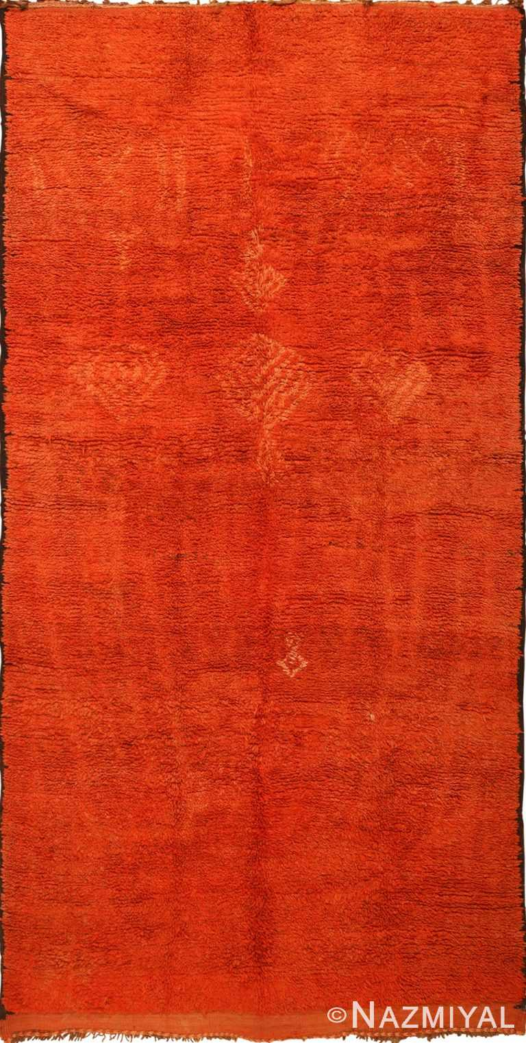 Burnt Orange Vintage Shaggy Berber Moroccan Rug 49868 - Nazmiyal