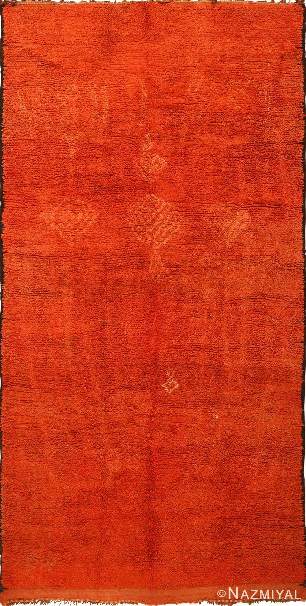 Burnt Orange Vintage Shaggy Berber Moroccan Rug 49868 By
