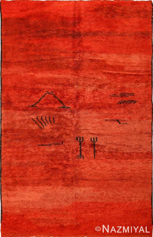 Vintage Shag Pile Burnt Orange Moroccan Berber Rug 49881 - Nazmiyal
