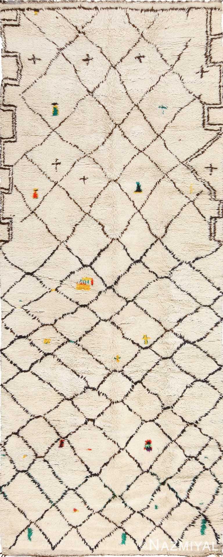 Vintage Shaggy Beni Ourain Moroccan Berber Carpet 49885 - Nazmiyal
