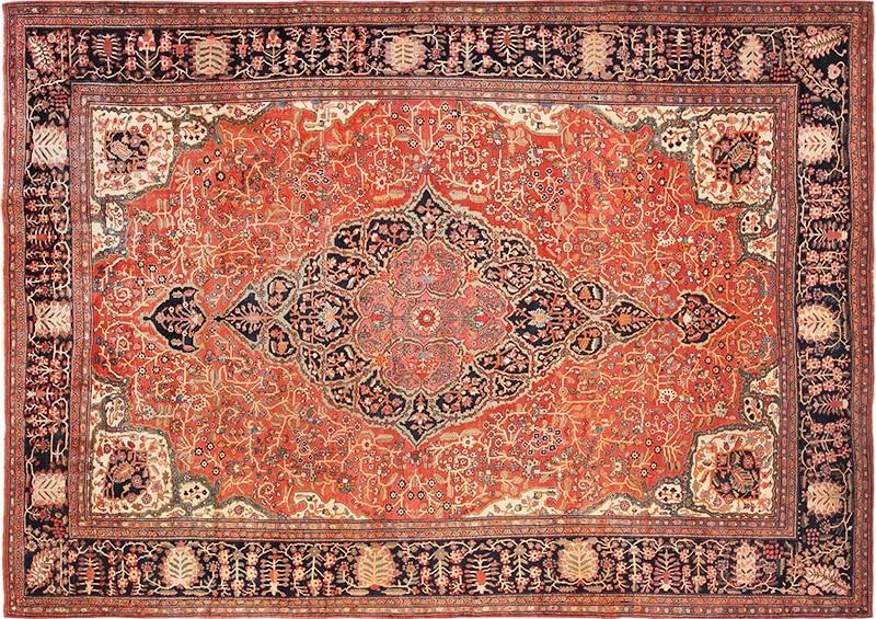 Picture of an antique Persian Sarouk Farahan Rug - Nazmiyal