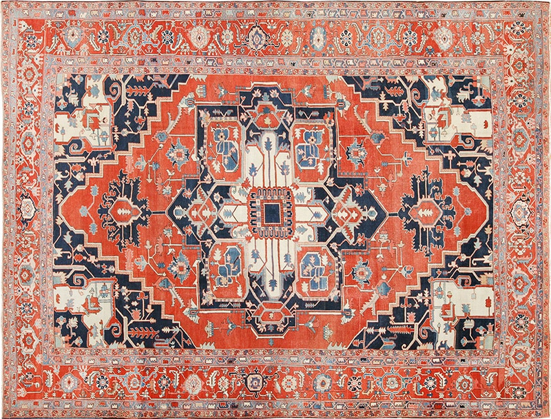 Picture of an antique Persian Serapi Rug - Nazmiyal