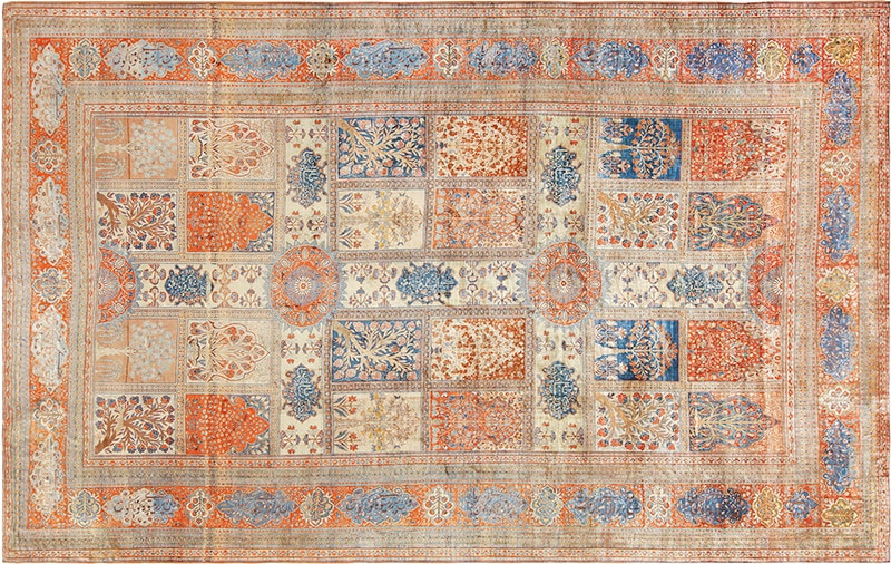 Picture of an antique Persian Silk Heriz Rug - Nazmiyal
