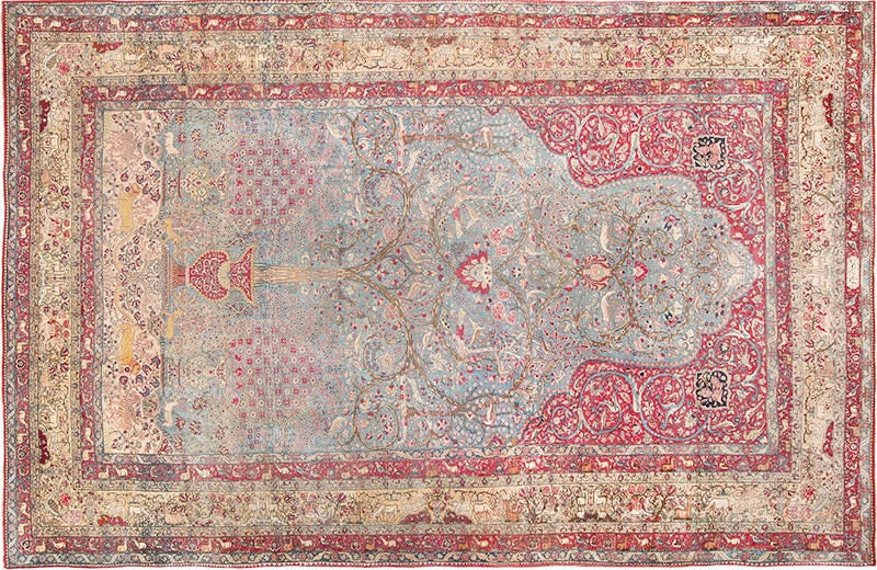Picture of an antique Persian Tehran Rug - Nazmiyal