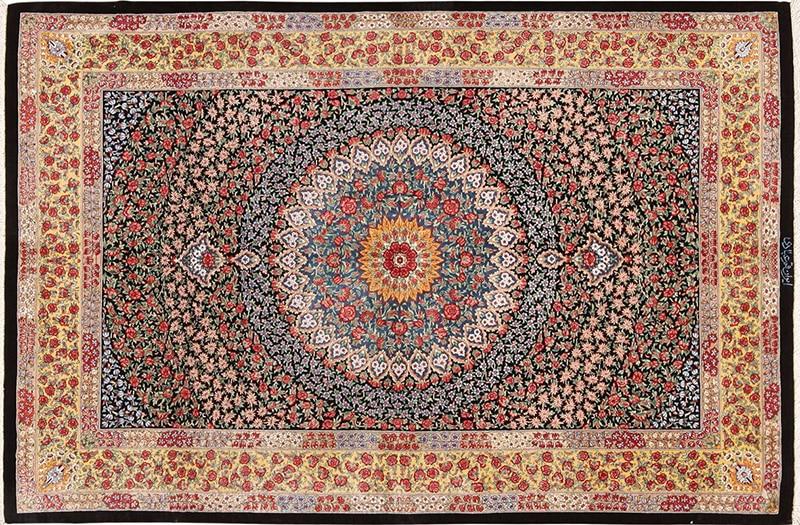 Picture of a silk vintage Persian Qum Rug nazmiyal