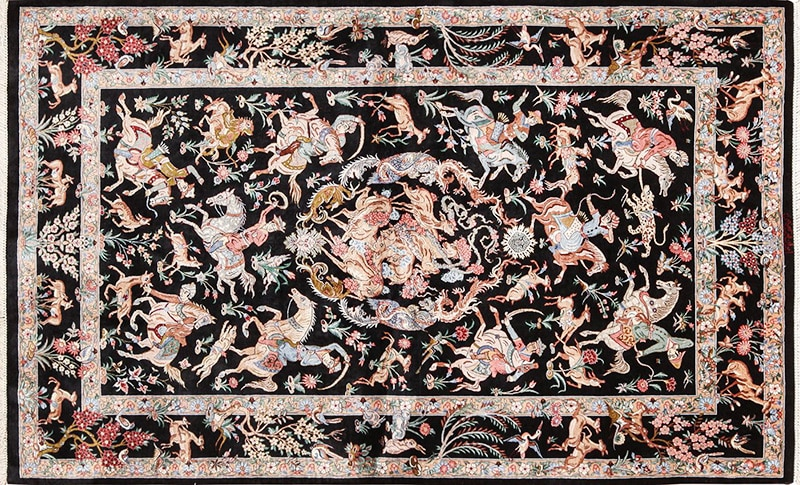 Picture of a silk vintage Persian Qum Rug
