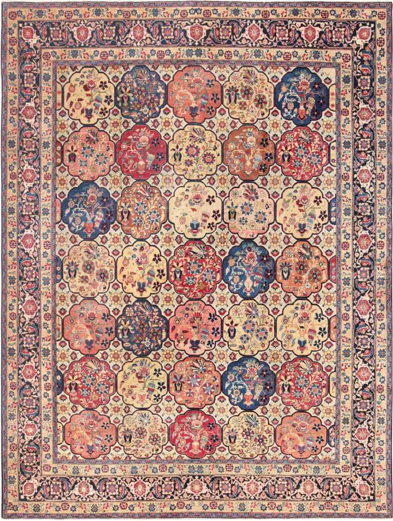 Room Size Antique Persian Tabriz Rug 48580 Nazmiyal