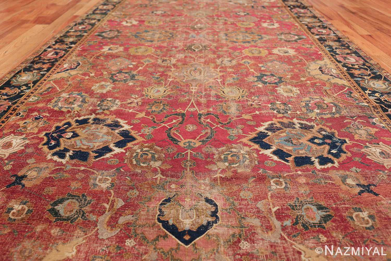 17th Century Wide Hallway Persian Isfahan Rug 49664 Field Design Nazmiyal