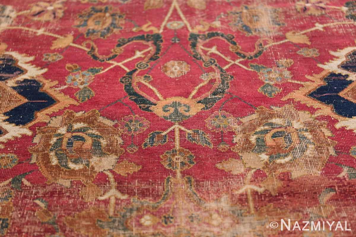 17th Century Wide Hallway Persian Isfahan Rug 49664 Green Flower Nazmiyal