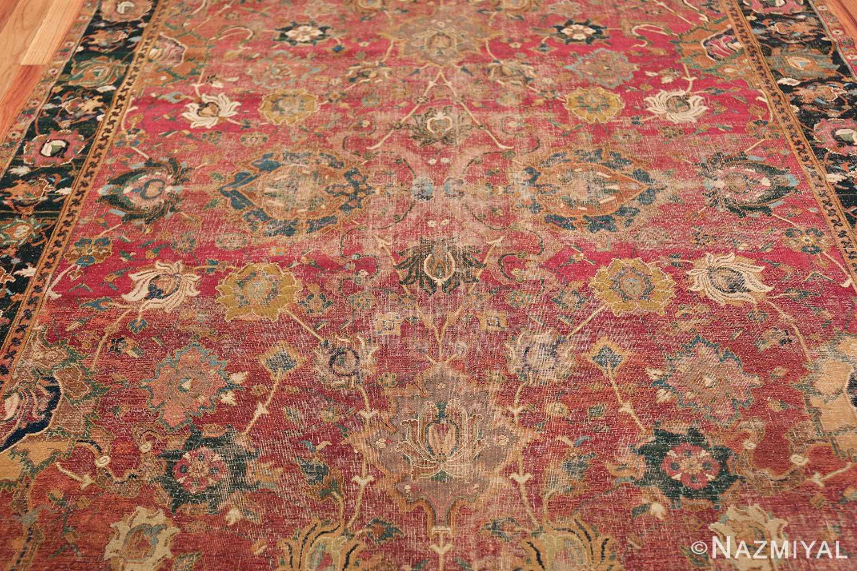 17th Century Wide Hallway Persian Isfahan Rug 49664 Middle Design Nazmiyal