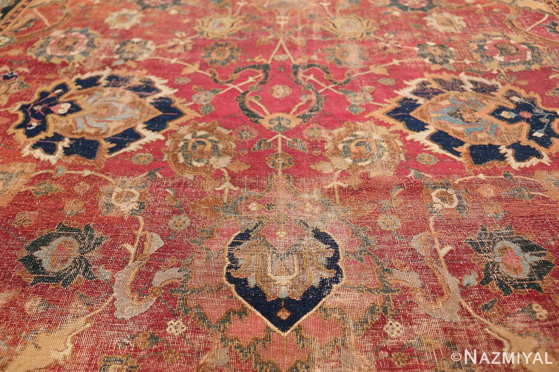 17th Century Wide Hallway Persian Isfahan Rug 49664 Navy Pattern Nazmiyal