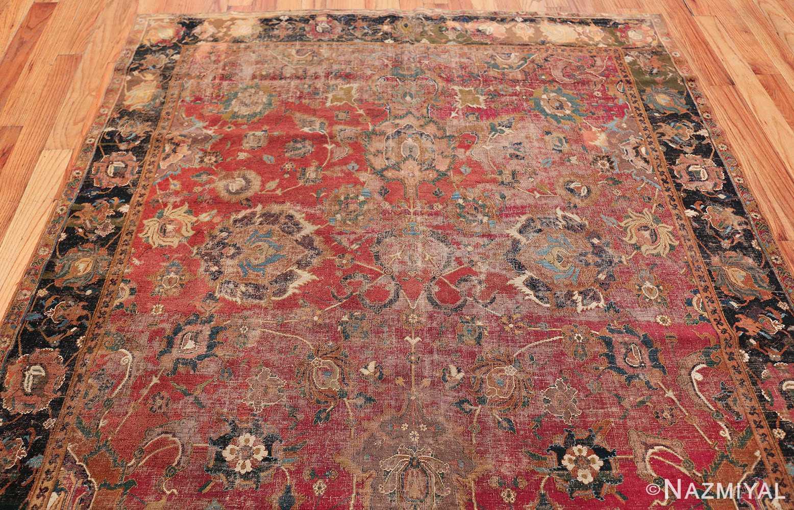 17th Century Wide Hallway Persian Isfahan Rug 49664 Top Design Pattern Nazmiyal