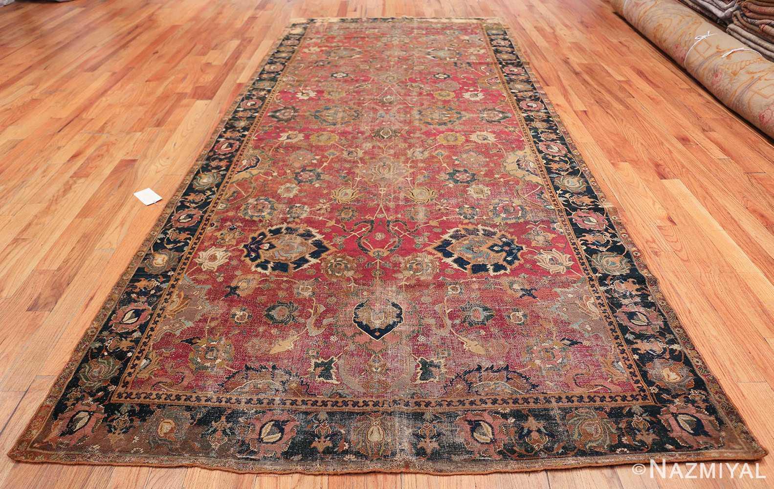 17th Century Wide Hallway Persian Isfahan Rug 49664 Whole Design Nazmiyal