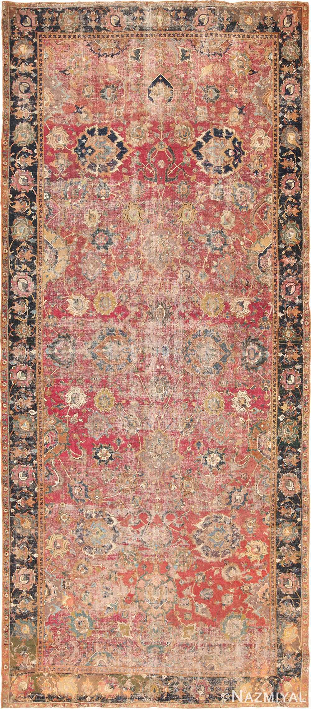 17th Century Wide Hallway Persian Isfahan Rug 49664 Nazmiyal