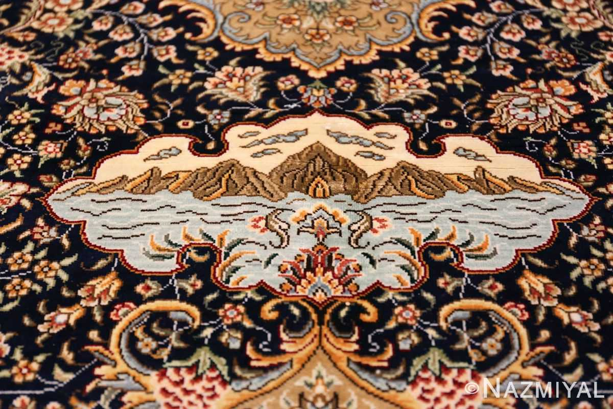 Animal Motif Silk Modern Chinese Rug 49923 Blue Sky Nazmiyal