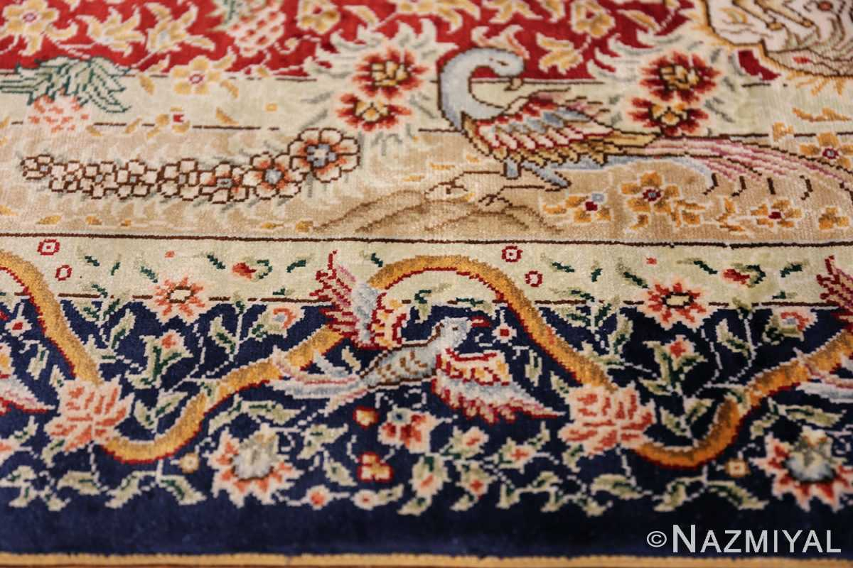 Animal Motif Silk Modern Chinese Rug 49923 Border Peacock Nazmiyal