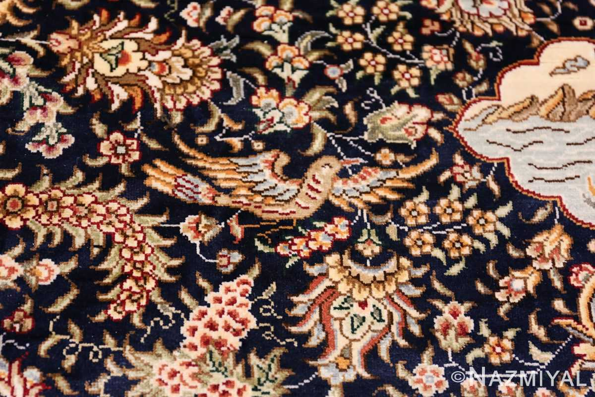 Animal Motif Silk Modern Chinese Rug 49923 Flying Bird Nazmiyal