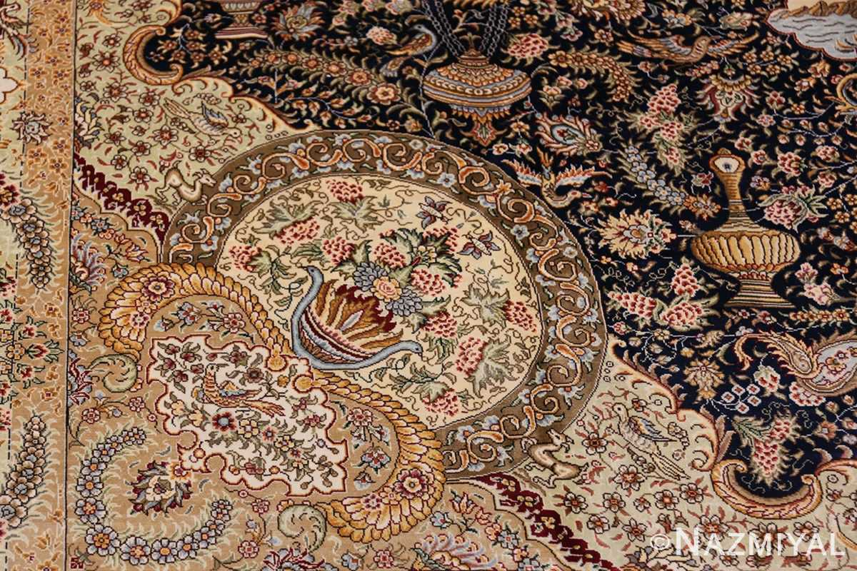 Animal Motif Silk Modern Chinese Rug 49923 Pattern Round Nazmiyal