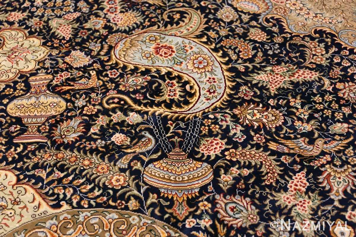 Animal Motif Silk Modern Chinese Rug 49923 Pending Vase Nazmiyal