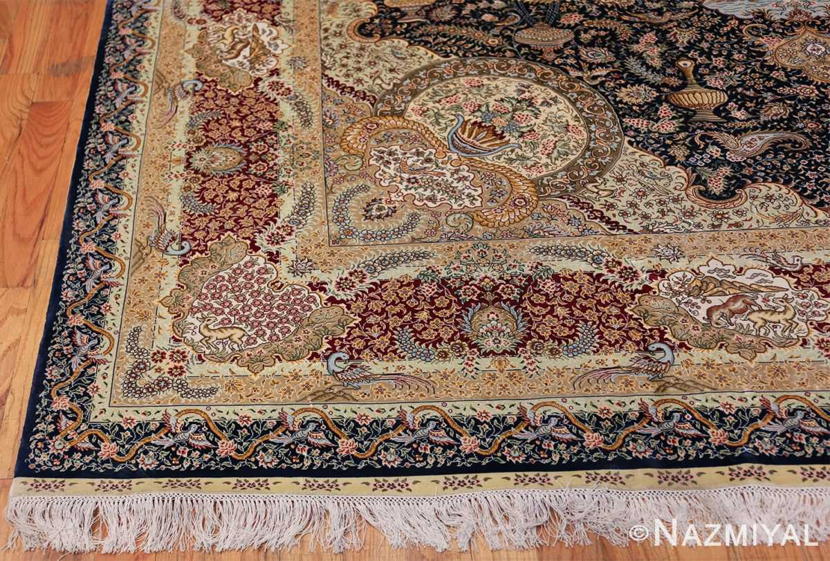 Animal Motif Silk Modern Chinese Rug 49923 Side Corner Nazmiyal