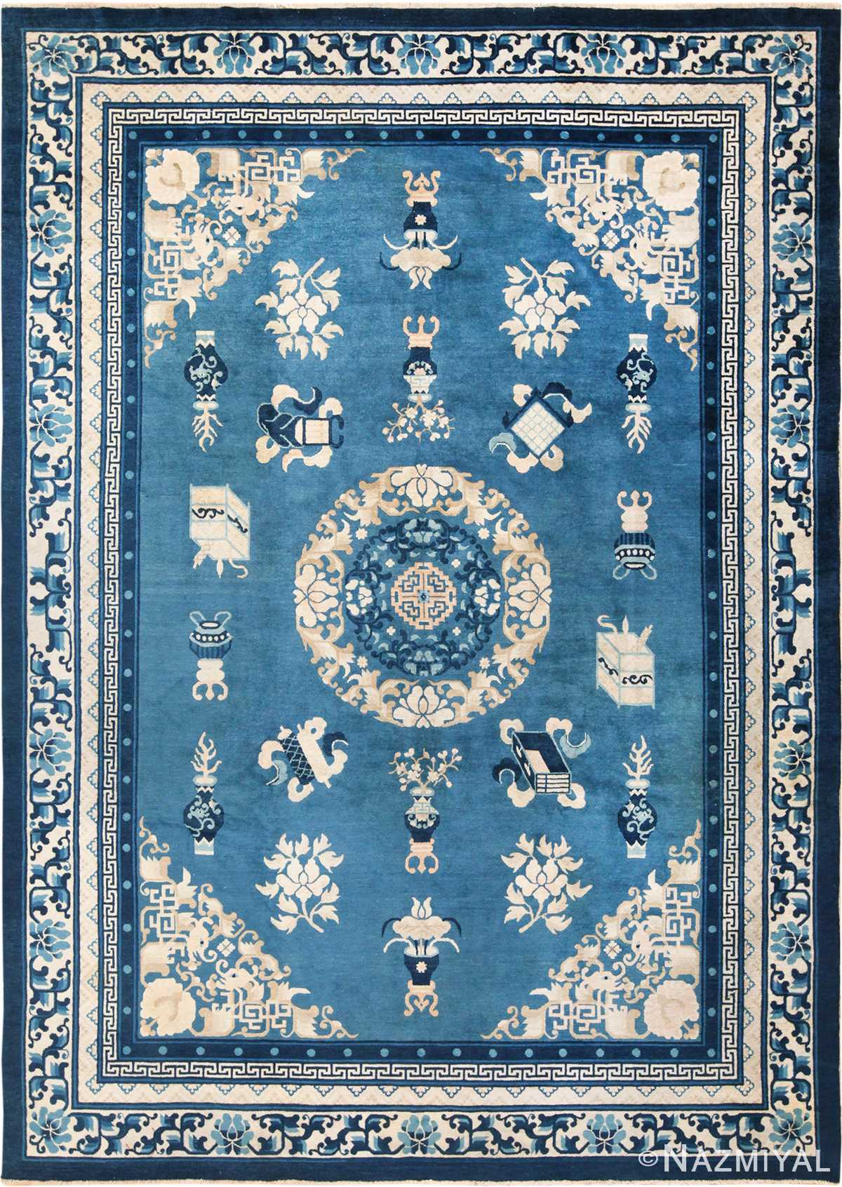 Antique Room Size Blue and Ivory Chinese Rug 49902 from Nazmiyal Antique Rugs