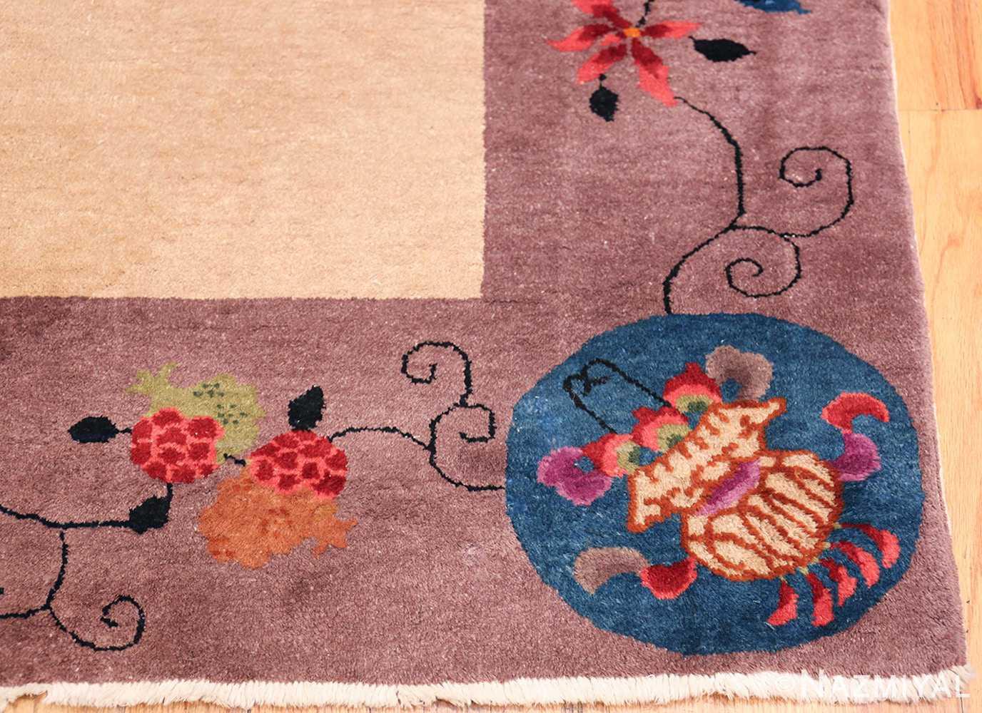 Large Antique Chinese Rug 49909 Corner Vase Nazmiyal