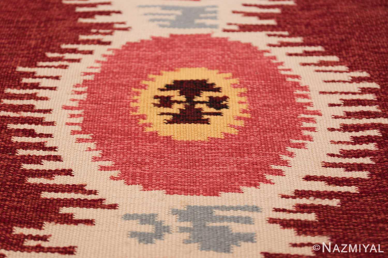 Large Vintage Scandinavian Swedish Kilim 49922 Pink Circle Nazmiyal