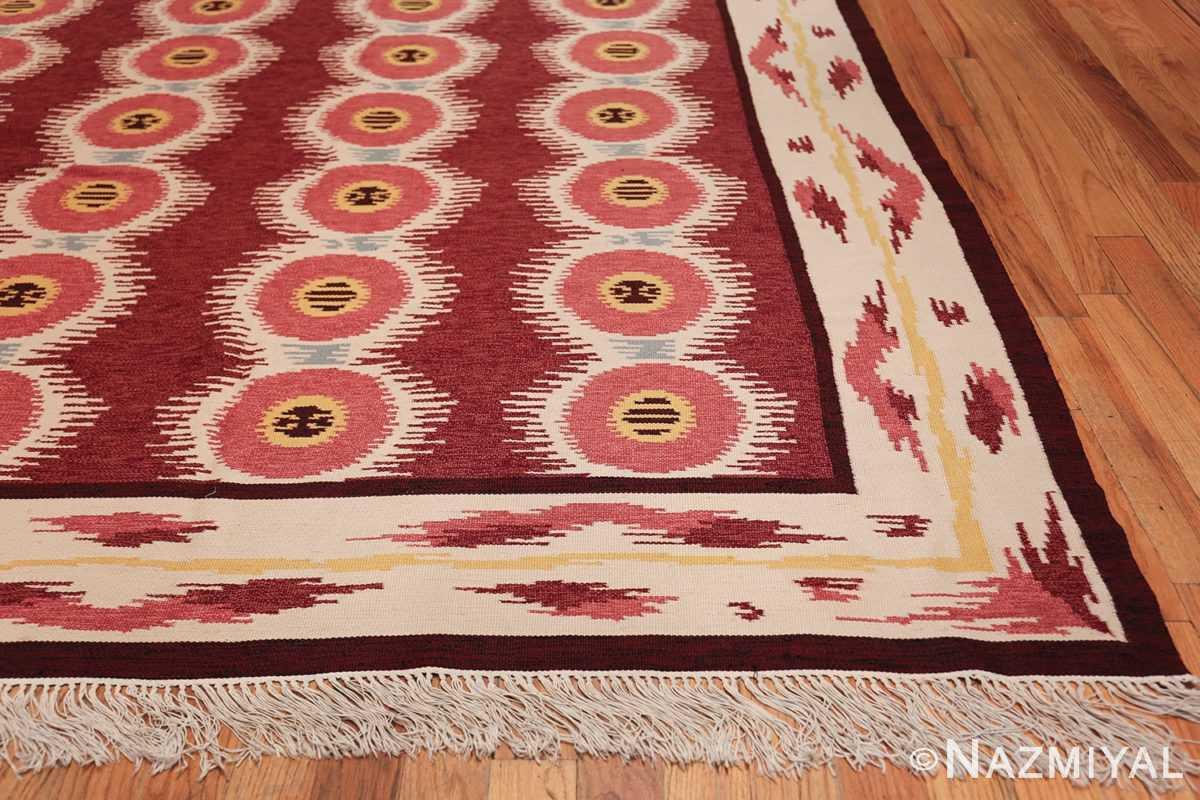 Large Vintage Scandinavian Swedish Kilim 49922 Side Corner Nazmiyal