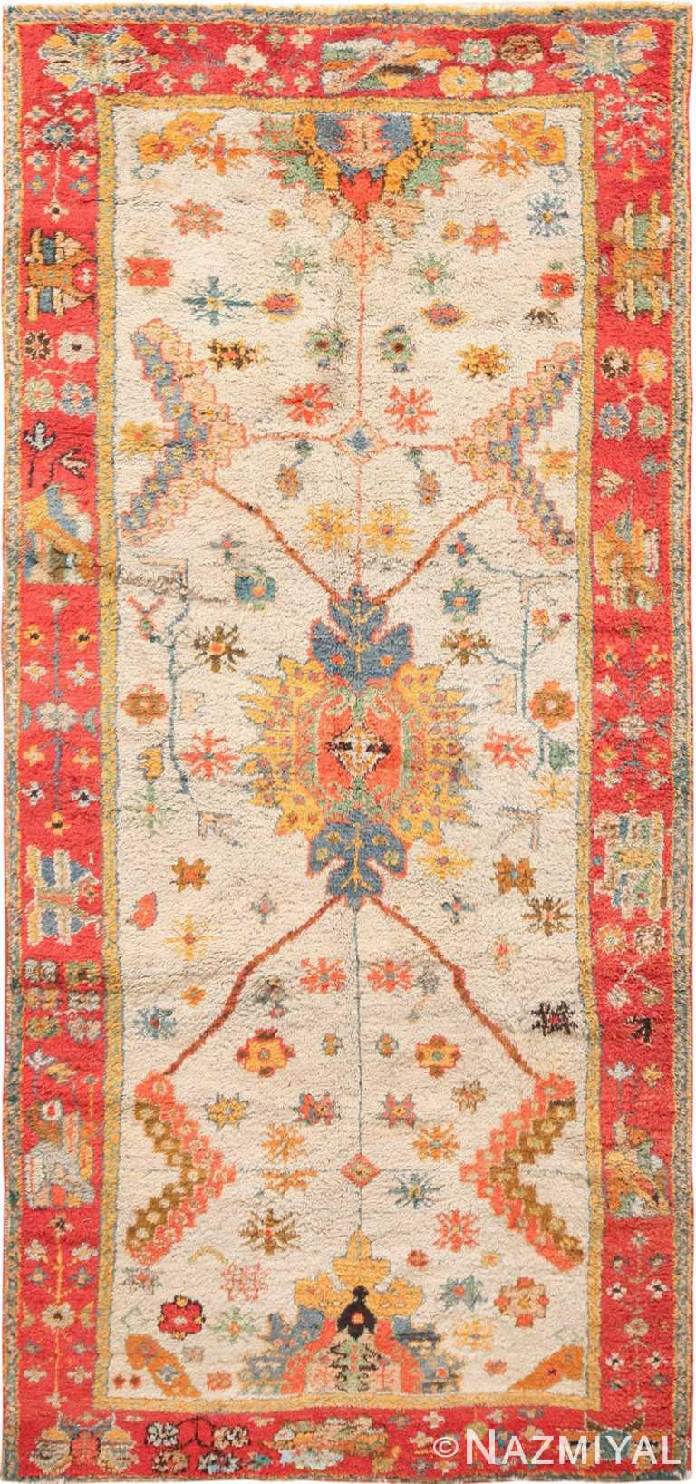 Light Blue Background Antique Turkish Oushak Rug 49834 Nazmiyal