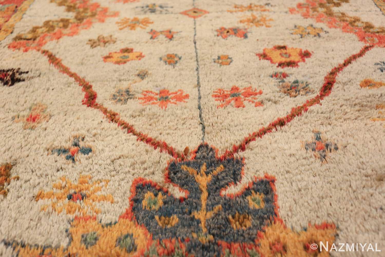 Light Blue Background Antique Turkish Oushak Rug 49834 Geometric Line Nazmiyal
