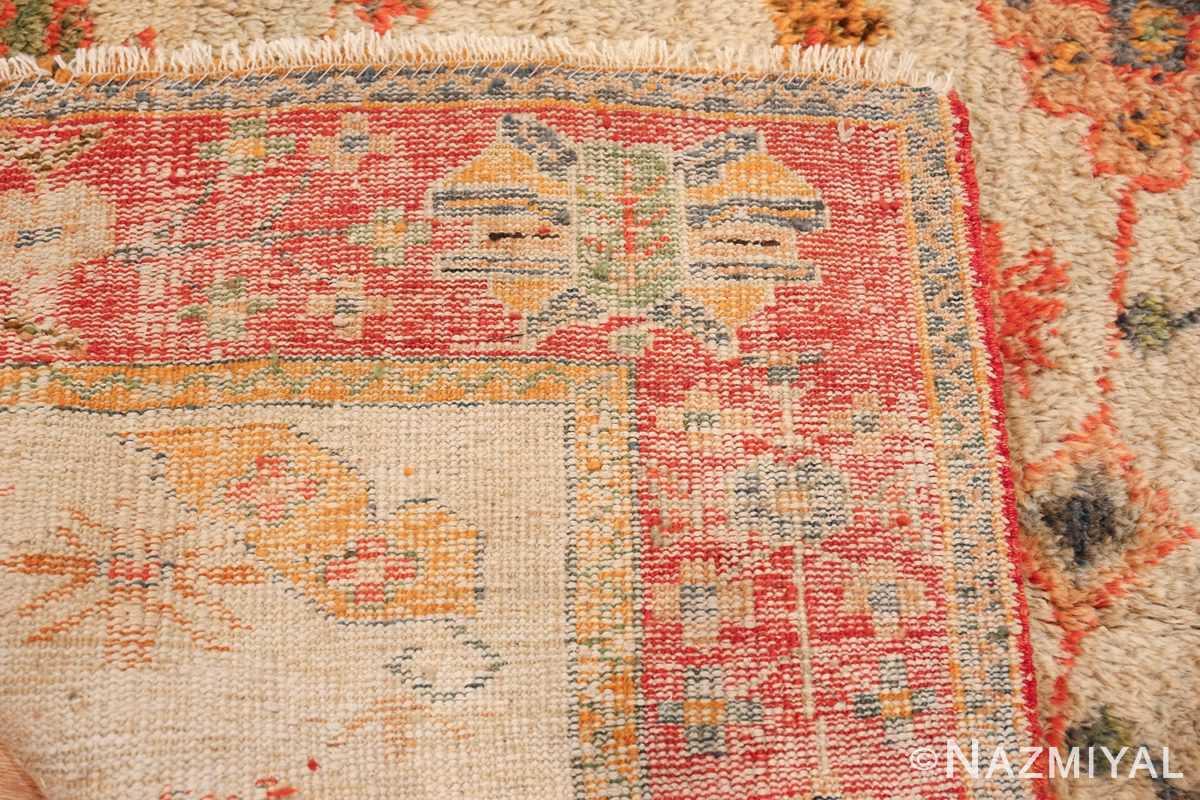 Light Blue Background Antique Turkish Oushak Rug 49834 Woven Knots Nazmiyal