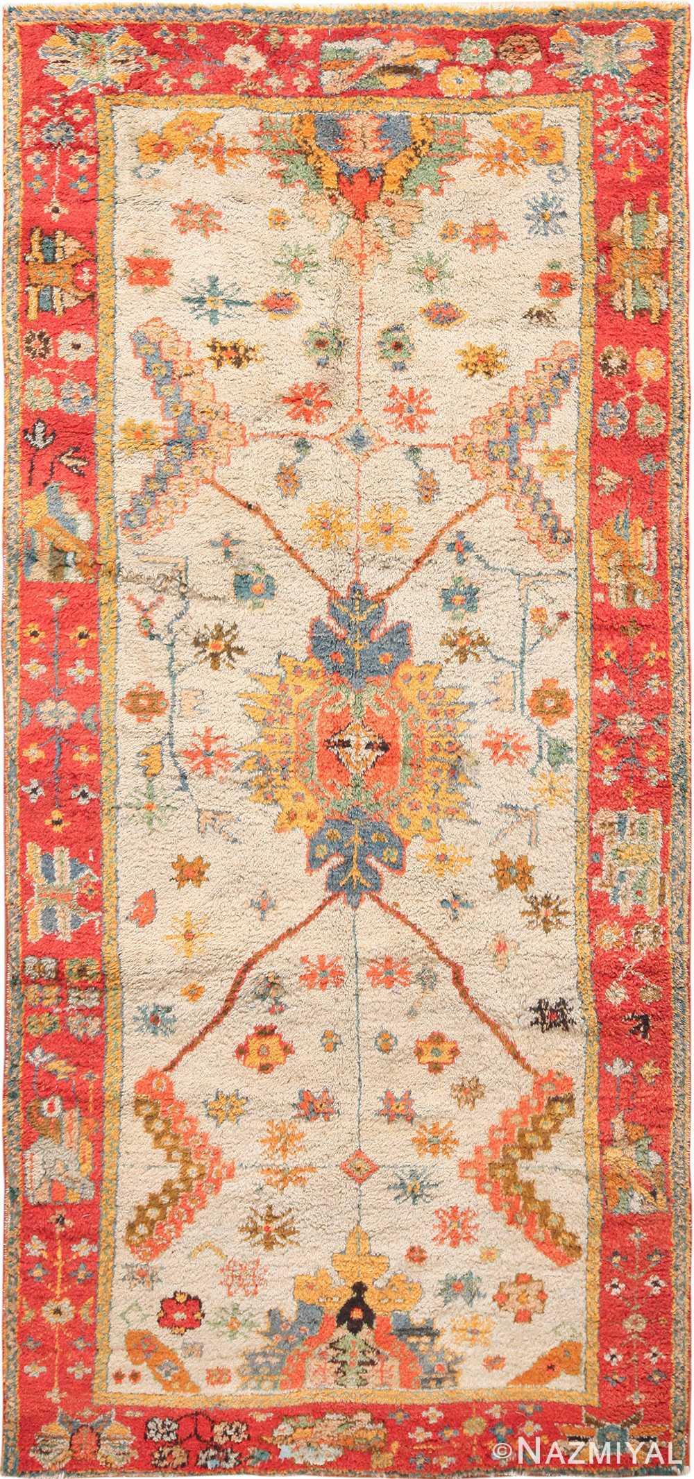 Light Blue Background Antique Turkish Oushak Rug 49834 Nazmiyal