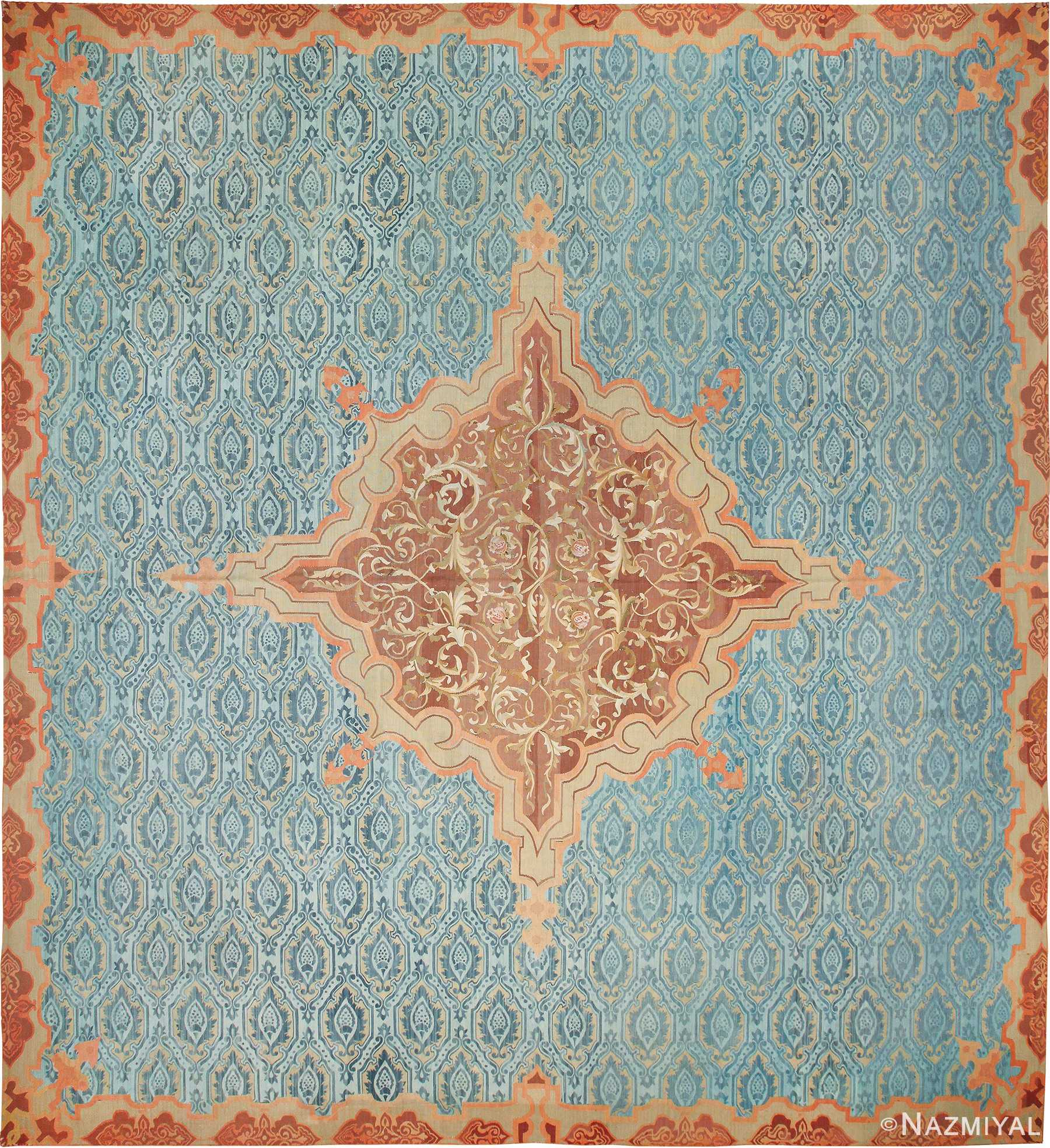 Antique Blue Mid 19th Century French Aubusson Carpet 49908 - Nazmiyal