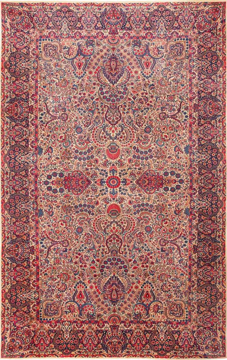 Vintage Millefleur Persian Kerman Rug 49927 - Nazmiyal