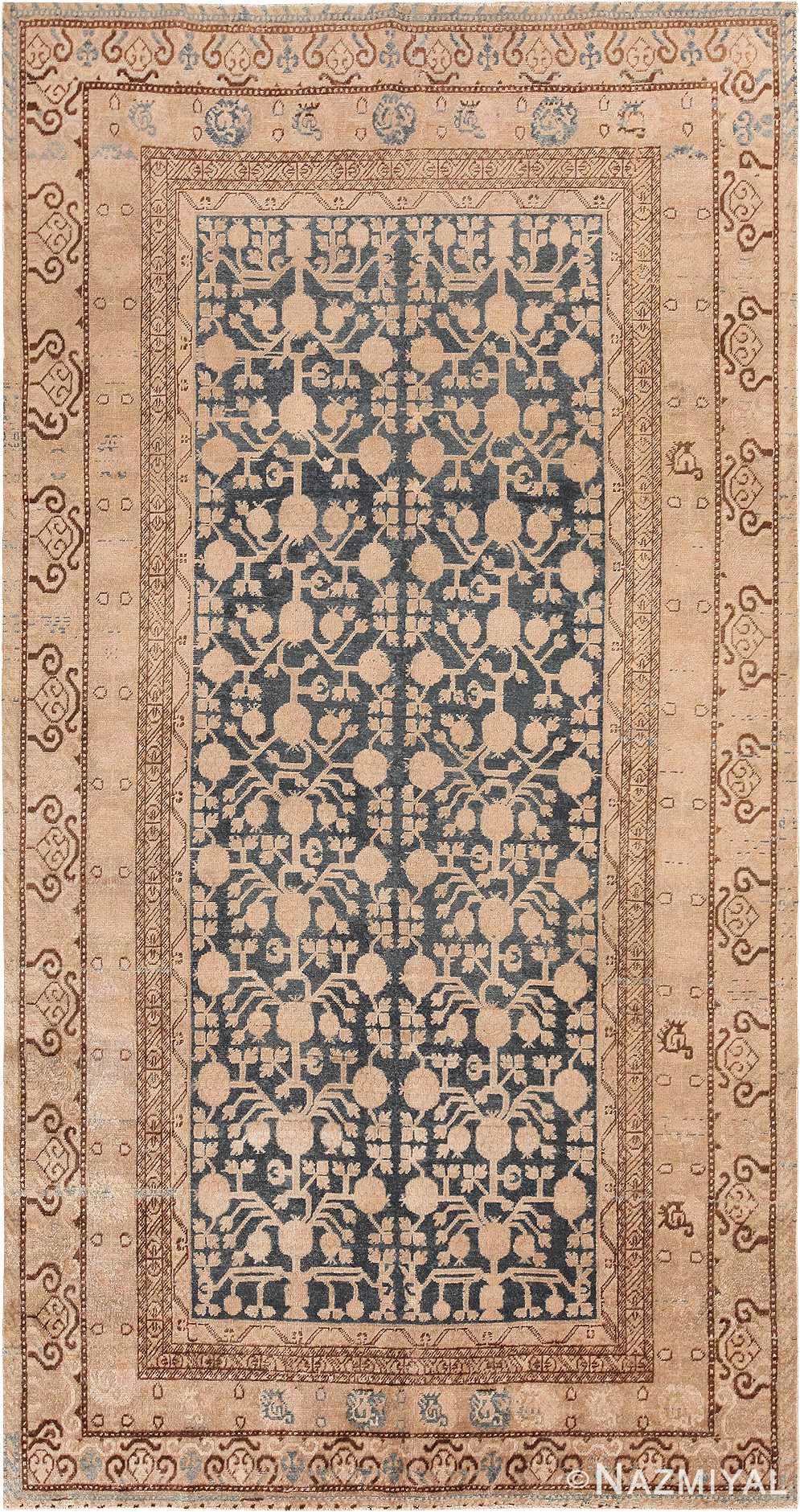 Antique Blue Pomegranate Khotan Rug 49482 - Nazmiyal