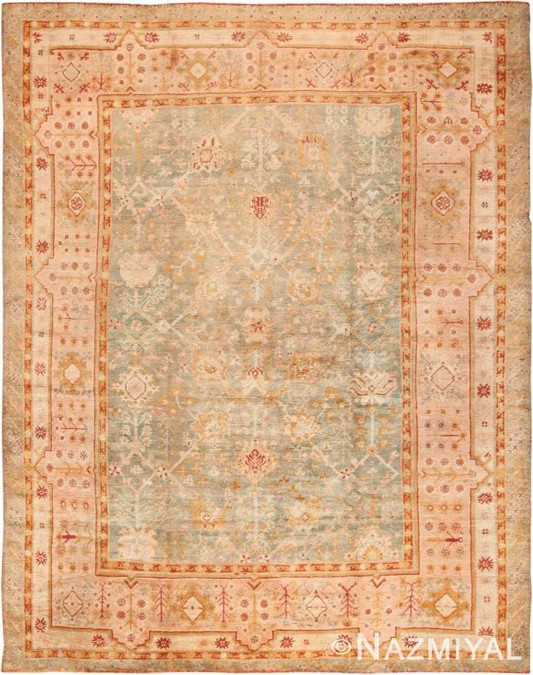 Room Size Antique Turkish Oushak Rug 49692 - Nazmiyal