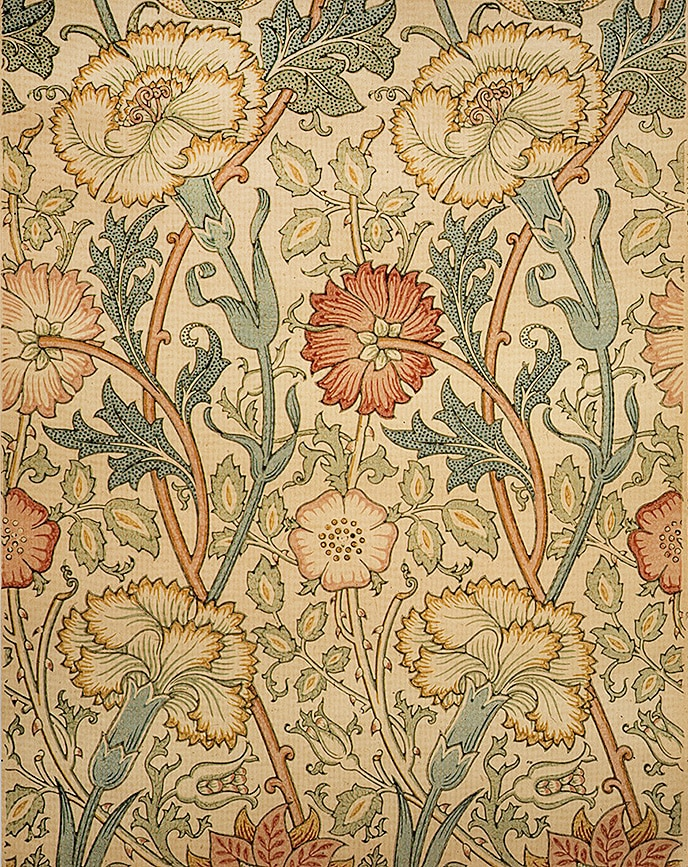 """Pink and Rose"" William Morris Print Wallpaper From the Metropolitan Museum Of Art - Posted to Nazmiyal Blog"