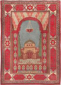 Antique Pictorial Temple Of Solomon Israeli Marbediah Rug #49979 from Nazmiyal Antique Rugs in NYC